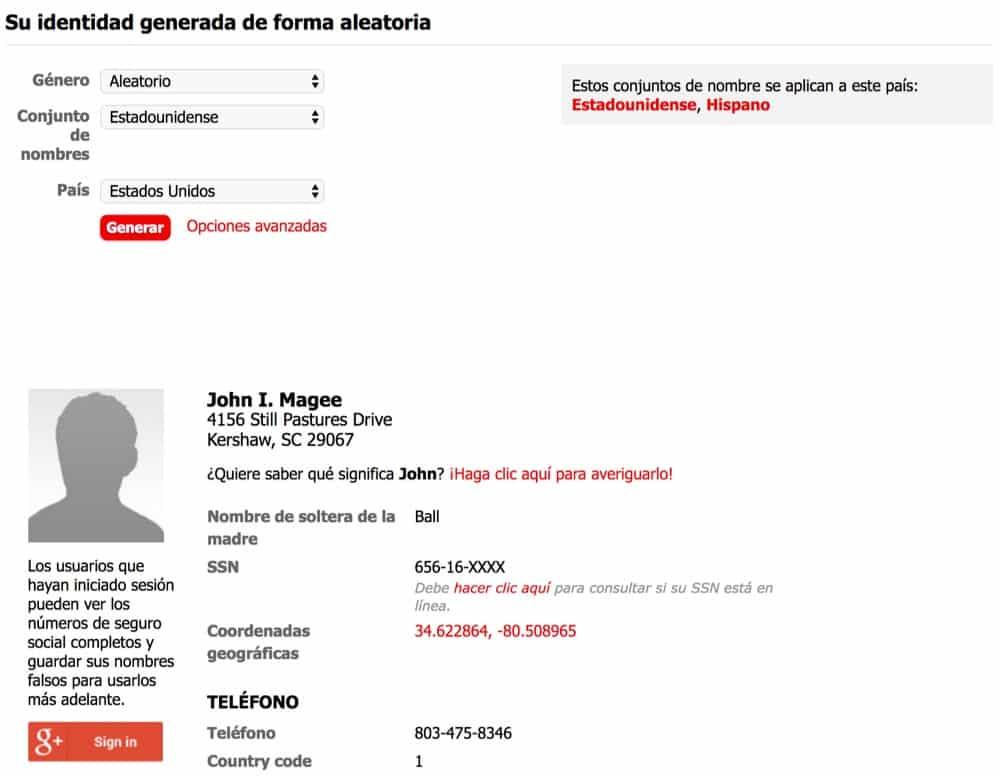 Generador de identidades falsas